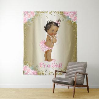 Ethnischer Mädchen-Babyparty-Hintergrund Wandteppich