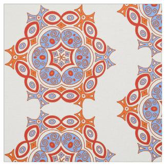 Ethnischer Türkis und roter Entwurf Stoff