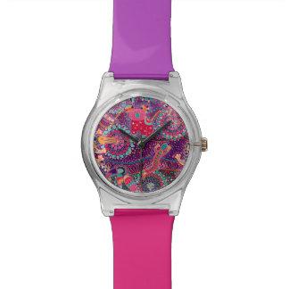 Ethnisches Art-Tier-Muster Uhr