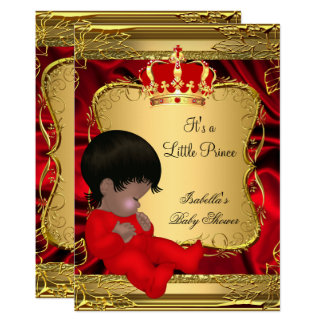 Ethnisches Baby-Duschen-rotes verziertes Gold Karte