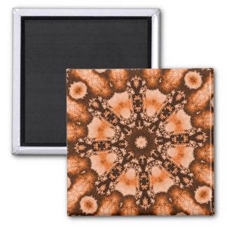 Ethnisches böhmisches Mandalabraun orange tiedye Quadratischer Magnet