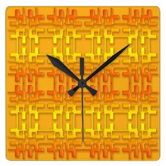 Ethnisches geometrisches orange Muster Quadratische Wanduhr