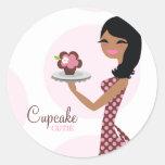 ethnisches gewelltes Haar der Süsse-311-Cupcake Aufkleber
