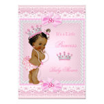 Ethnisches Mädchen-Rosa Prinzessin-Babyparty perlt 12,7 X 17,8 Cm Einladungskarte
