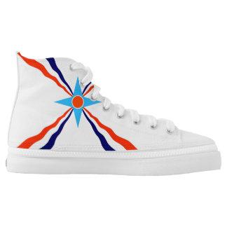 Ethnisches Symbol der Assyrian Leuteflagge Hoch-geschnittene Sneaker