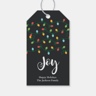 Etikett für Geschenk Joy Christmas Lights Geschenkanhänger