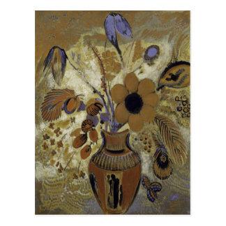 Etruscan Vase mit Blumen Postkarte