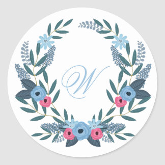 Etwas blauer BlumenKranz mit Monogramm Runder Aufkleber