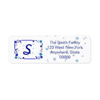 Etwas blaues Adressen-Etikett