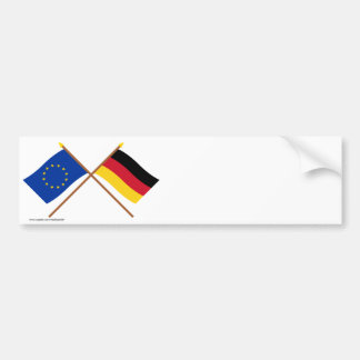 EU und Deutschland gekreuzte Flaggen Autoaufkleber