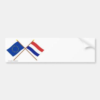 EU und die Niederlande gekreuzte Flaggen Autoaufkleber