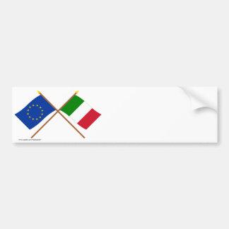 EU und Italien gekreuzte Flaggen Autoaufkleber