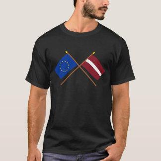 EU und Lettland gekreuzte Flaggen T-Shirt