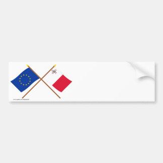 EU und Malta gekreuzte Flaggen Autoaufkleber