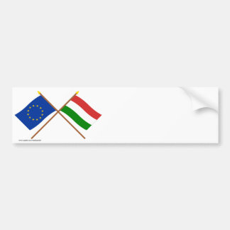 EU und Ungarn gekreuzte Flaggen Autoaufkleber