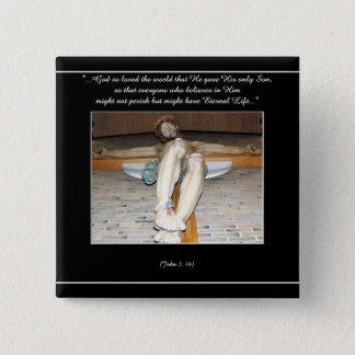Eucharistic Kruzifix Quadratischer Button 5,1 Cm