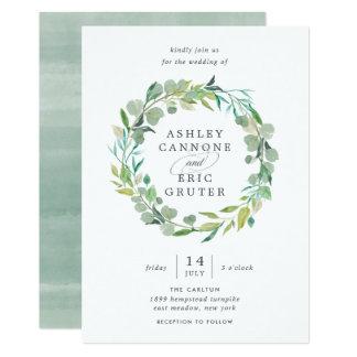 Eukalyptus-Kranz-Hochzeits-Einladung Karte