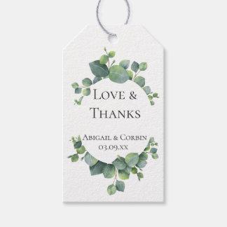 Eukalyptus-Laub-Gastgeschenk Hochzeit danken Ihnen Geschenkanhänger