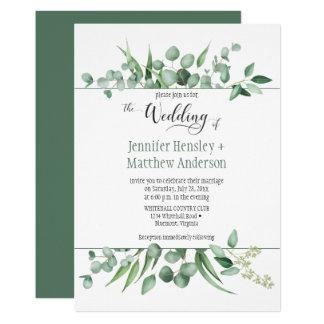 Eukalyptus-Neid-gerahmte Hochzeits-Einladung Karte
