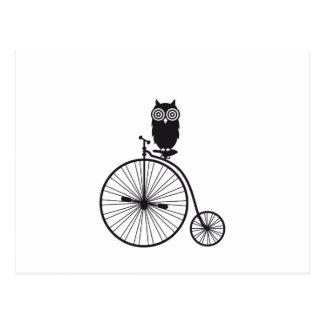 Eule auf altem Vintagem Fahrrad Postkarte