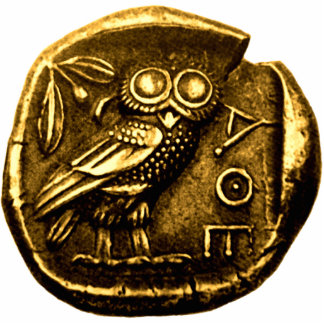 Eule auf altgriechischer Münze Freistehende Fotoskulptur
