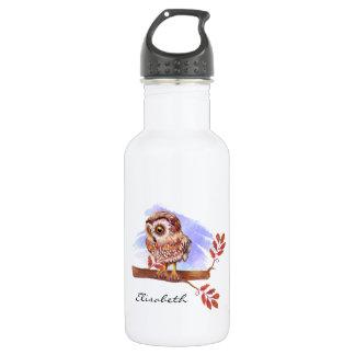 Eule auf Eichen-Aquarell Edelstahlflasche