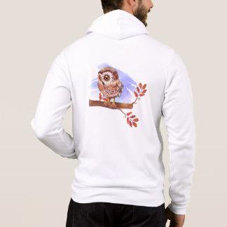 Eule auf Eichen-Aquarell Hoodie