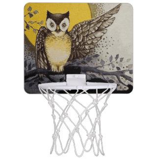 Eule auf Niederlassung vor Mond schwarze Katze Mini Basketball Ring