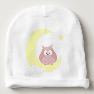Eule, die auf dem Mond sitzt Babymütze