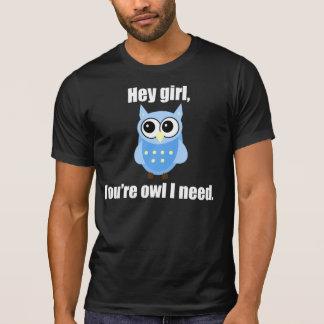Eule heben Linie auf T-Shirt