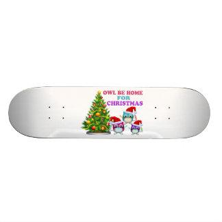Eule ist Zuhause für Weihnachten Skateboard