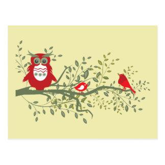 Eule kluge rote Eule die mit zwei Singvögeln si Postkarten