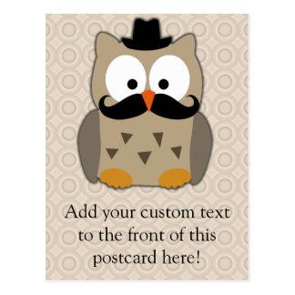 Eule mit dem Schnurrbart und Hut Postkarten