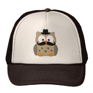 Eule mit dem Schnurrbart und Hut Retrokappe