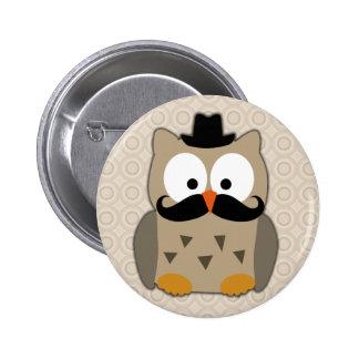 Eule mit dem Schnurrbart und Hut Runder Button 5,7 Cm