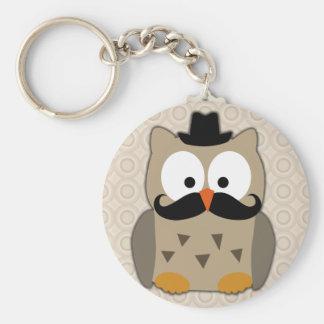 Eule mit dem Schnurrbart und Hut Standard Runder Schlüsselanhänger