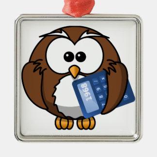 Eule mit Taschenrechner, Mathe, Student, Quadratisches Silberfarbenes Ornament