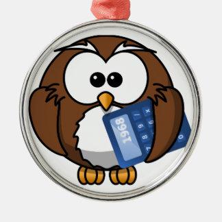Eule mit Taschenrechner, Mathe, Student, Rundes Silberfarbenes Ornament