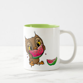 Eule mit Wassermelone Zweifarbige Tasse