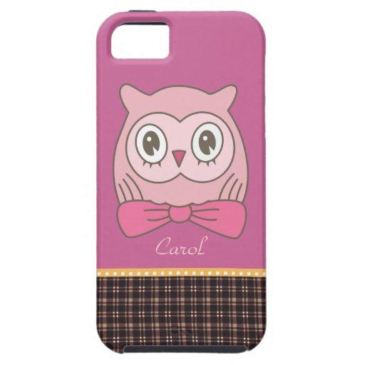 Eule rosa Dame mit Bogen-Krawatte iPhone 5 Schutzhülle