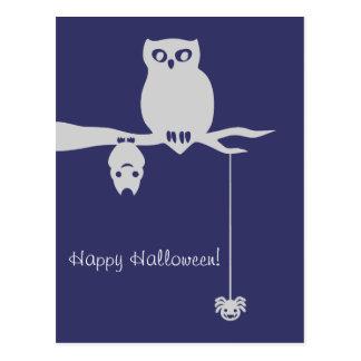 Eule-Schläger-Spinne gespenstisches Halloween Postkarte