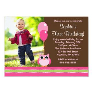 Eule steigt rosa Foto-Geburtstag Browns im Ballon 12,7 X 17,8 Cm Einladungskarte