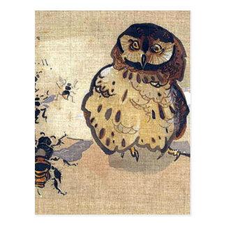 Eule und Bienen Postkarte