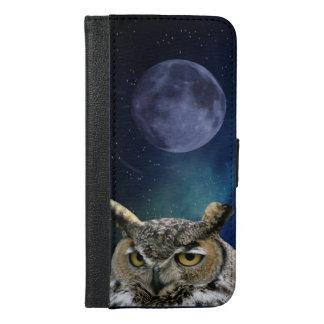 Eule und blauer Mond iPhone 6/6s Plus Geldbeutel Hülle