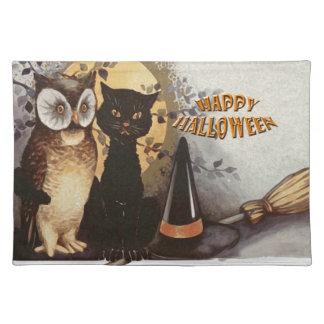 Eule und Katze Halloween Stofftischset