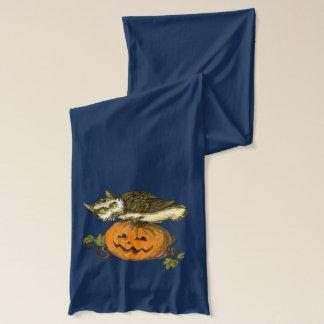 Eule und Kürbis Halloween Schal