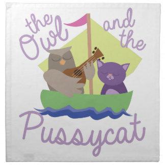 Eule und Pussycat Serviette