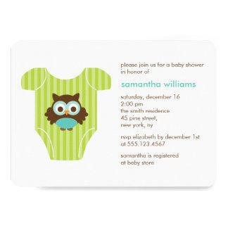 Eulen-Ausstattungs-Babyparty 12,7 X 17,8 Cm Einladungskarte