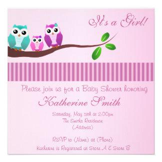Eulen-Babyparty-Einladung im Rosa
