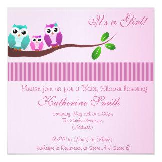 Eulen-Babyparty-Einladung im Rosa Quadratische 13,3 Cm Einladungskarte